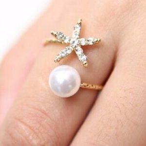 ❤️gorgeous star flower pearl adjustable ring